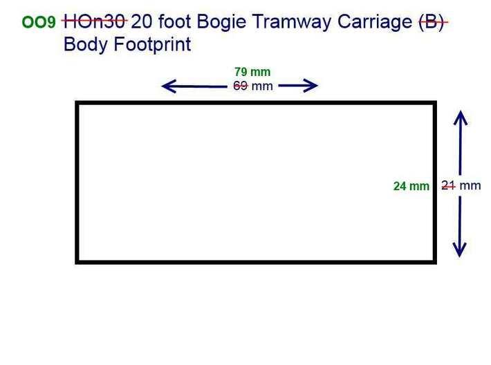 OO9 20 foot Bogie Tramway Carriage 3d printed