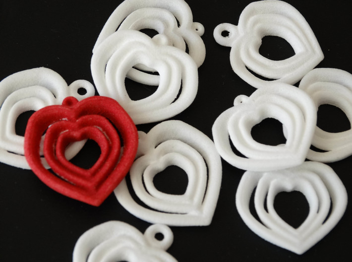 Love Heart pendent necklace 3 Heart design Small 3d printed