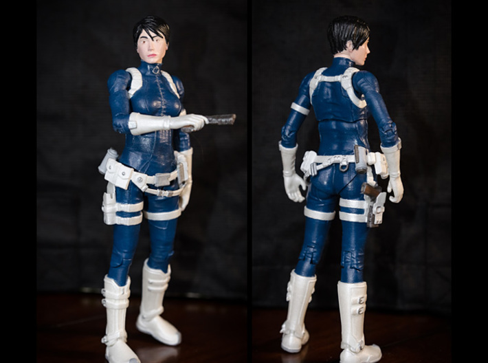 FB01-Belt-06  7inch 3d printed Belts printed in White Strong & Flexible Polished were used on this figure