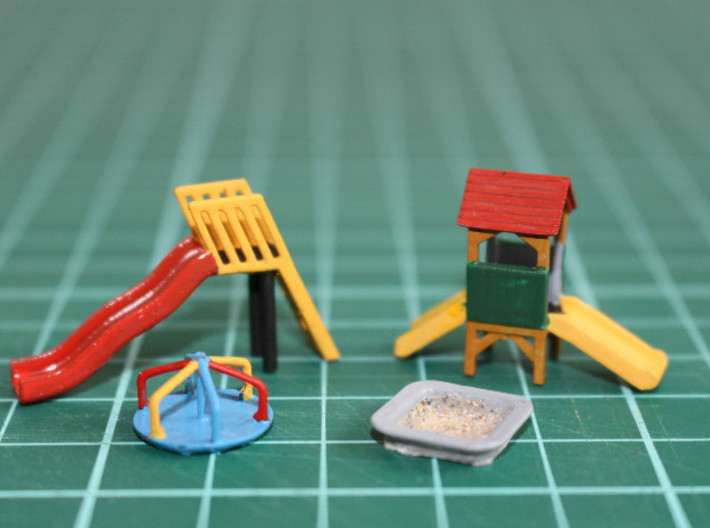 N Scale Playground Equipment 3d printed Playground parts without the jungle gym and seesaw