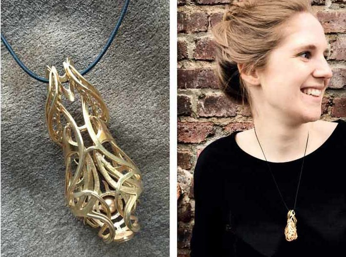 "inner beauty 3d printed ""inner beauty""-3D printed pendant, printed in brass"