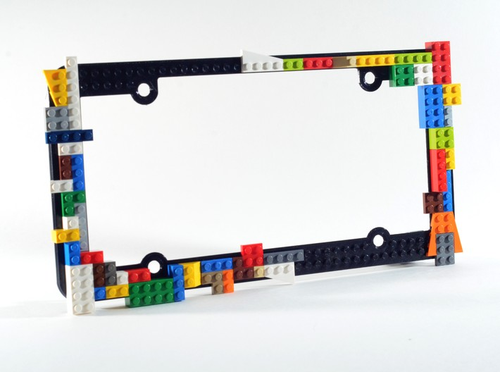 License Plate Frame with Lego Studs 3d printed Lego bricks not included.