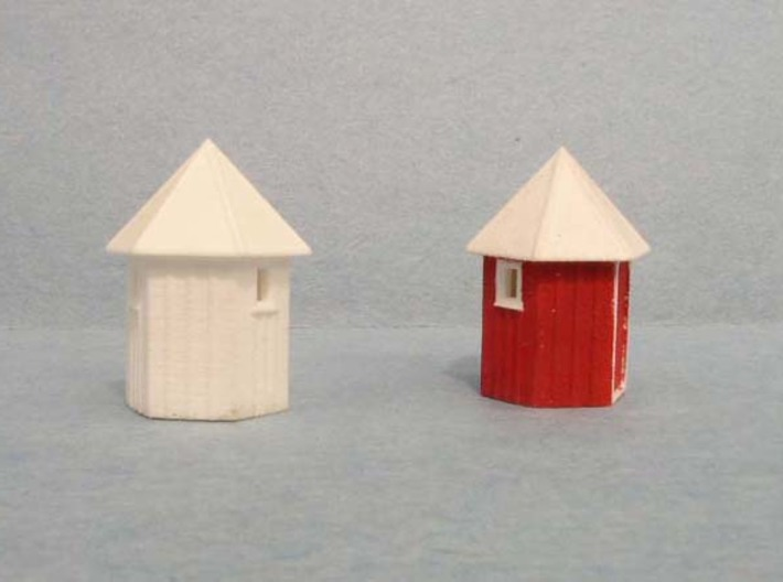 3 pack N scale Santa Fe Hexagonal Phone booth   3d printed Left side showing cleaned, painted model