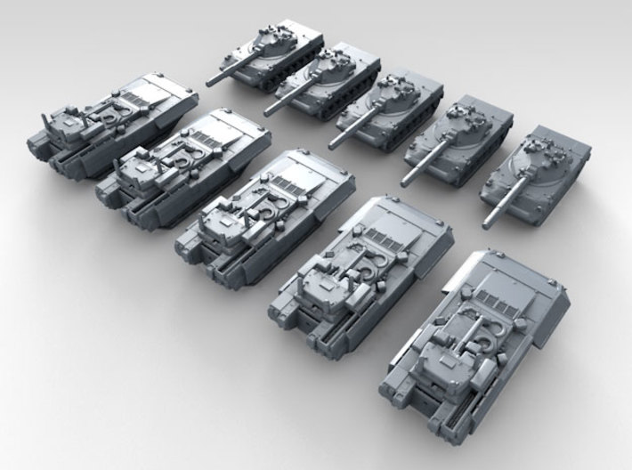1/700 Scale Russian Modern Tank Set 4 3d printed 3d render showing product detail