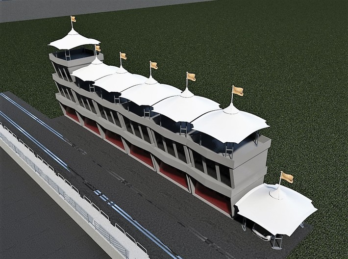 Gazebo - Roof ideal for pit lane slot car track 3d printed Example as a roof on Scalextrical buildings