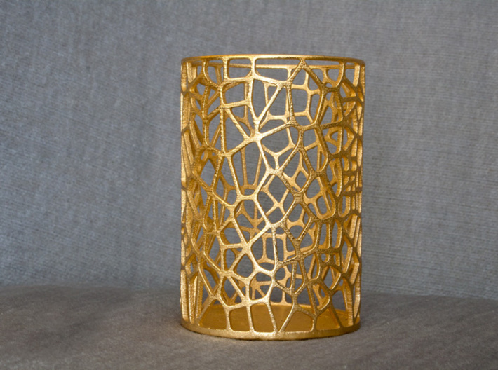 Pen Holder Voronoi 3d printed Polished Gold Steel