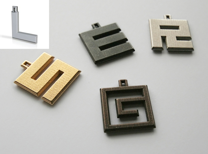 ABC Pendant - L Type - Solid - 24x24x3 mm 3d printed