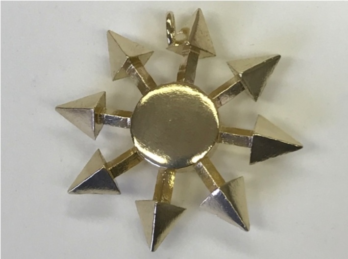 Chaos Star without engraving 3d printed Chaos Star pendant, without engraving, in raw brass.