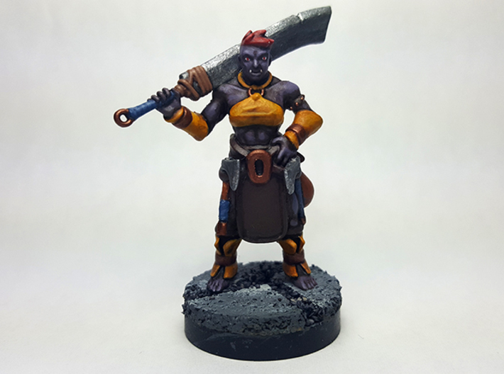 Half Orc Barbarian 3d printed Painted with acrylic paint on a custom 1 inch base.