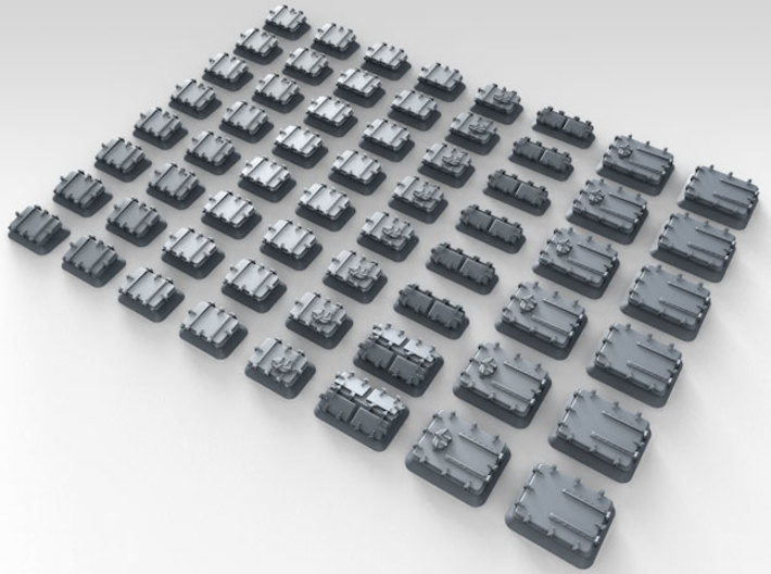 1/350 Royal Navy Assorted Hatches with Blast Plate 3d printed 3d render showing product detail