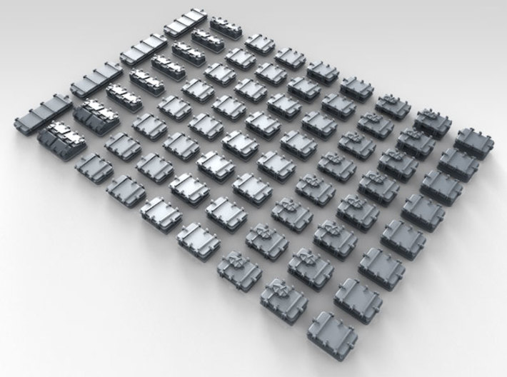 1/500 Royal Navy Assorted Deck Hatches x68 3d printed 3d render showing product detail