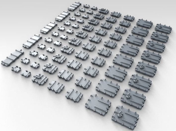 1/400 Royal Navy Assorted Deck Hatches Only x75 3d printed 3d render showing product detail