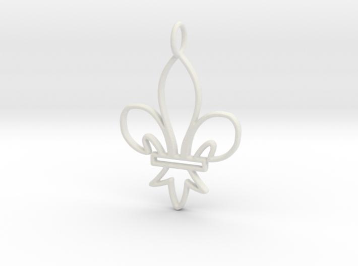 Fleur De Lis Symbol Stylized Lily Pendant Charm 3d printed