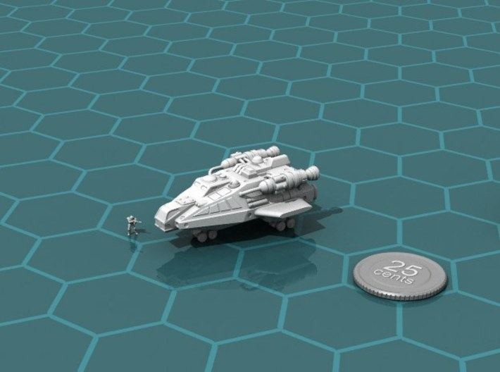 Tramp Freighter 3d printed Render of the model, with a virtual quarter for scale.