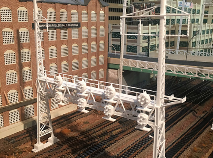 HO Scale PRR W-signal LATTICE 4 Track  W 2-3 PHASE 3d printed on the layout before paint