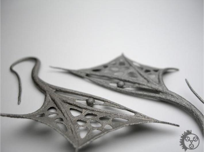 Wing Earrings 3d printed Wing Earrings - Closeup