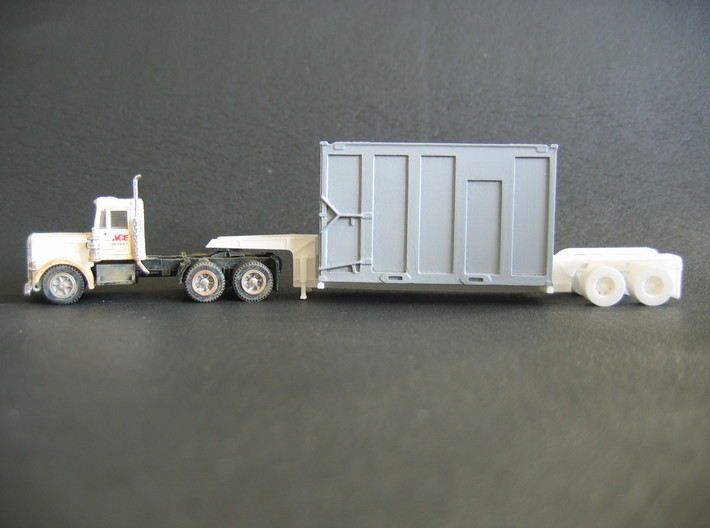 N scale 1/160 MSW Trash Lowboy Trailer 3d printed My HO Trash Lowboy with my Trash Container.