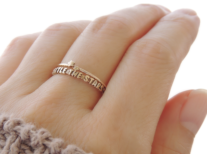 Rattle The Stars Ring (Multiple Sizes) 3d printed 'Rattle The Stars' and Twin Star Ring in Polished Bronze