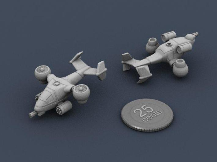Terran Ground Attack VTOL 3d printed Renders of the model, with a virtual quarter for scale.