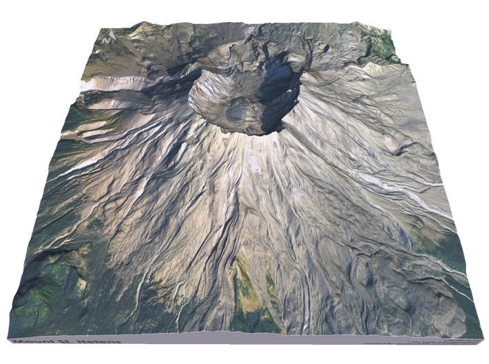 "Mount St. Helens Map: 9"" 3d printed"