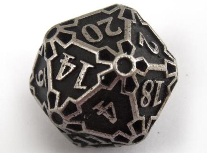 Huge d20 3d printed In stainless steel and inked