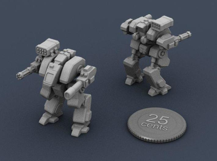Terran Assault Walker 3d printed Renders of the model, plus a virtual quarter for scale.