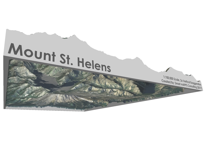 """Mount St. Helens Map: 8.5""""x11"""" 3d printed"""