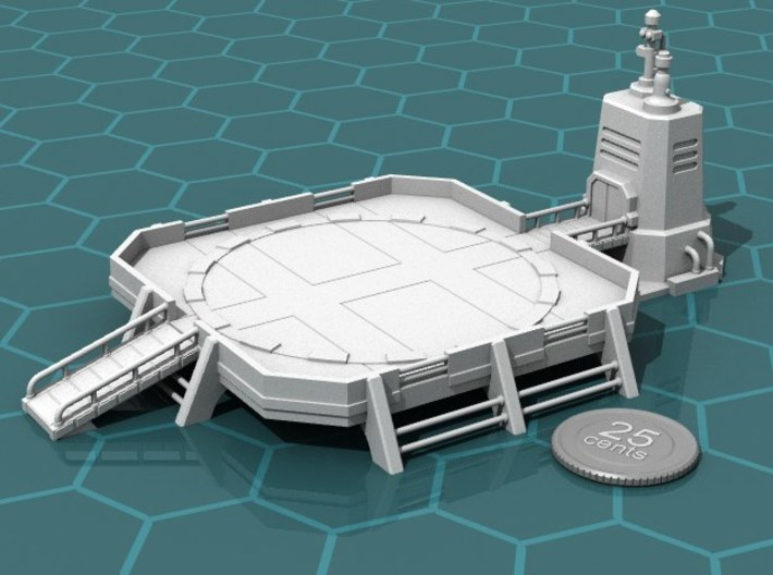 Landing Pad 3d printed Render of the model, with a virtual quarter for scale.