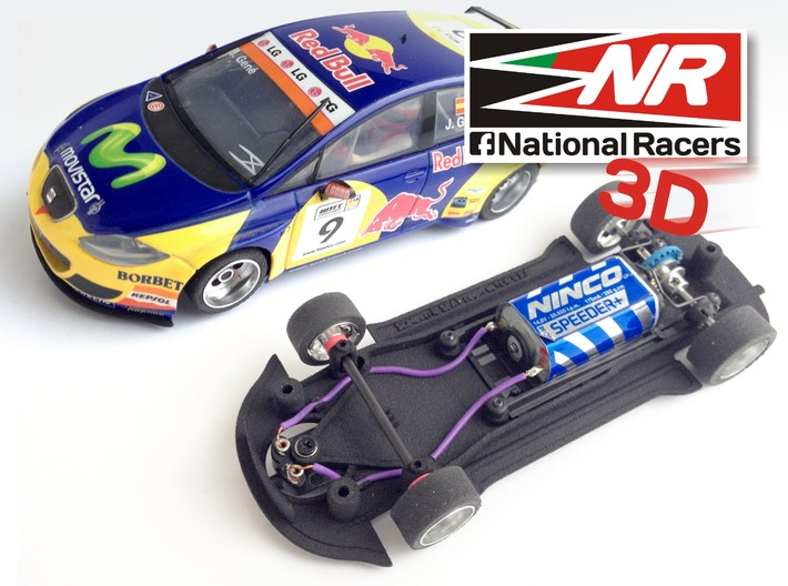 3D Chassis - SCX SEAT Leon WTCC (Inline) 3d printed Chassis compatible with SCX model (slot car and other parts not included)