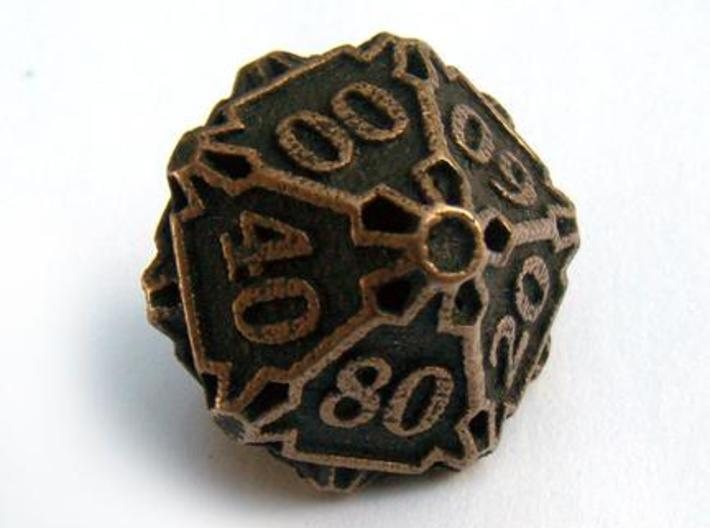 Large Premier Decader Die10 3d printed In antique bronze glossy and inked