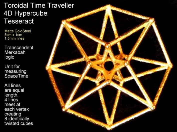 Sacred Geometry: Toroidal Hypercube 50mmx1.5mm 3d printed Absolutely gorgeous and affordable in Matte Gold Steel.