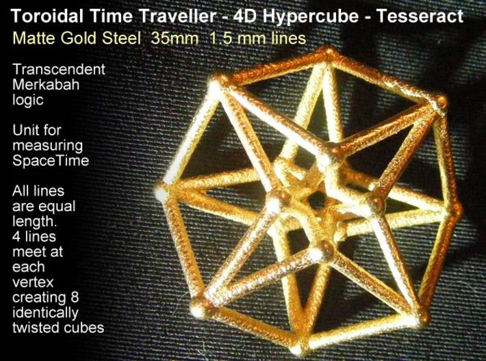 Toroidal Hypercube 35mm 1.5mm Time Traveller 3d printed Fairly chunky at 35mm x 1.5mm lines in Matte Gold Steel.