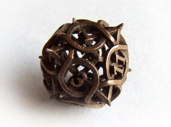 Thorn d12 3d printed In Polished Bronze Steel