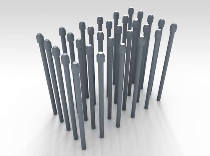 1/144 Fairmile Mushroom Top Stove Pipes x30 3d printed 3d render showing product detail