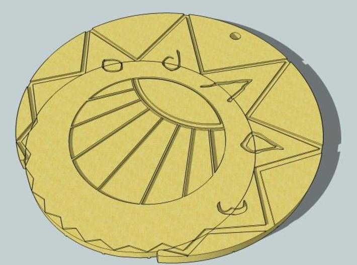 Estaban and Zia's Medallion from The Mysterious Ci 3d printed Latched together