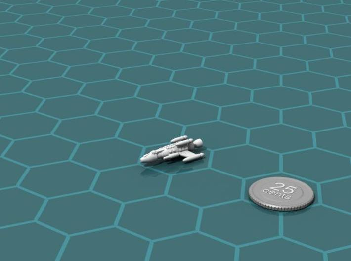 Privateer Springbok class Escort 3d printed Render of the model, with a virtual quarter for scale.