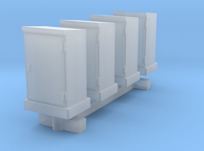 N Scale 4 High Voltage Cabinets 3d printed