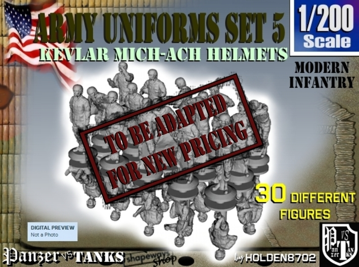 1-200 Army Modern Uniforms Set5 3d printed