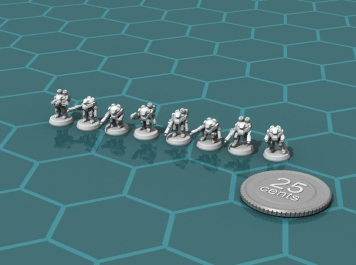 Terran Power Armor Squad 3d printed Render of the squad, with a virtual quarter for scale.