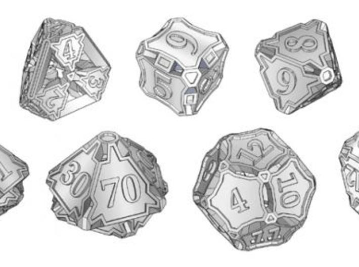 Premier Dice Set with Decader 3d printed A set of seven dice including an extra decader d10 for generating percentile results.