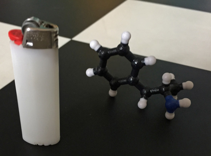 Amphetamine Molecule Model (Speed), 3 Sizes. 3d printed Amphetamine Molecule. 1:10. Coated Full Color. Photo with an actual line of speed (Thanks Chris!).