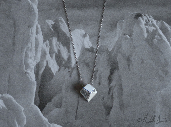 """Iceberg Pendant (smaller, melting) - """"Ode to Ice""""  3d printed Chain not included."""