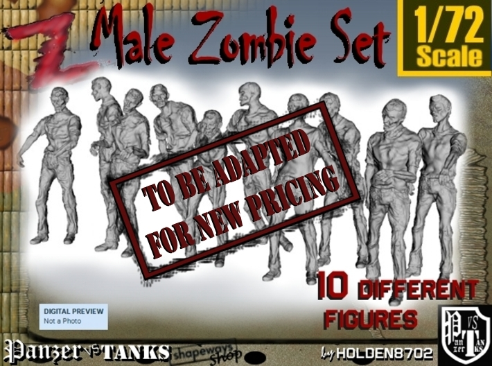 1-72 Male Zombie Set 3d printed