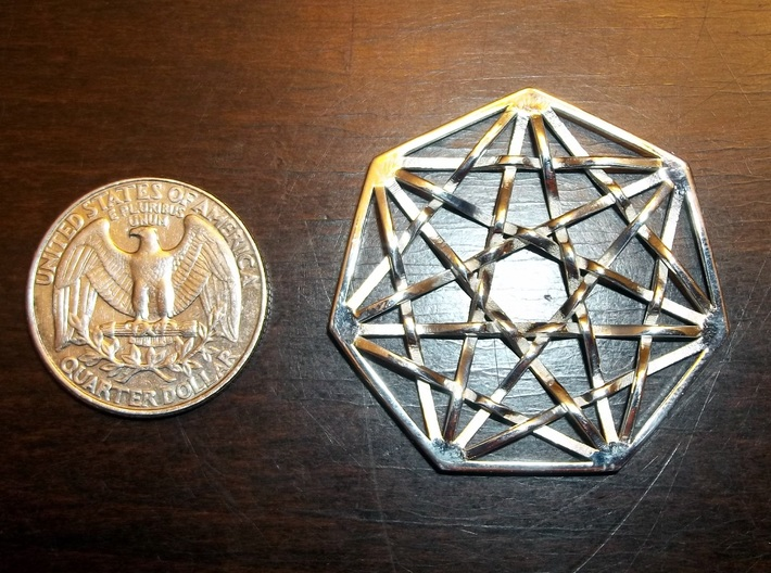"7D Hypercube Pendant 1.5"" 3d printed 7D Hypercube Pendant in Polished Silver"
