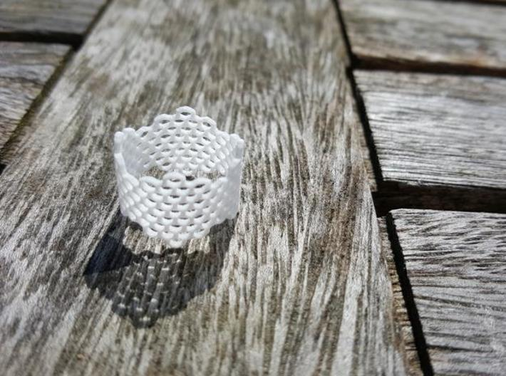 Honeycomb Band Ring 3d printed White Strong & Flexible