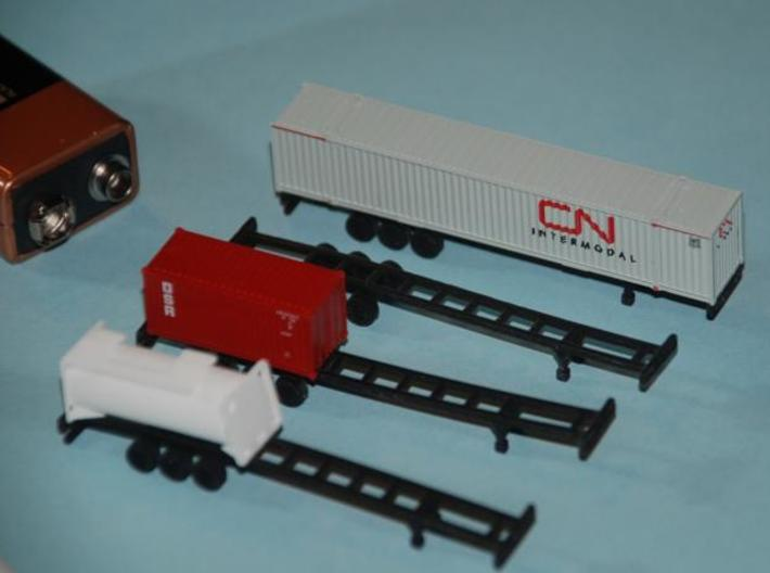 53 foot Container Chassis - Set of 4 - Z scale 3d printed Printed in Black Detail