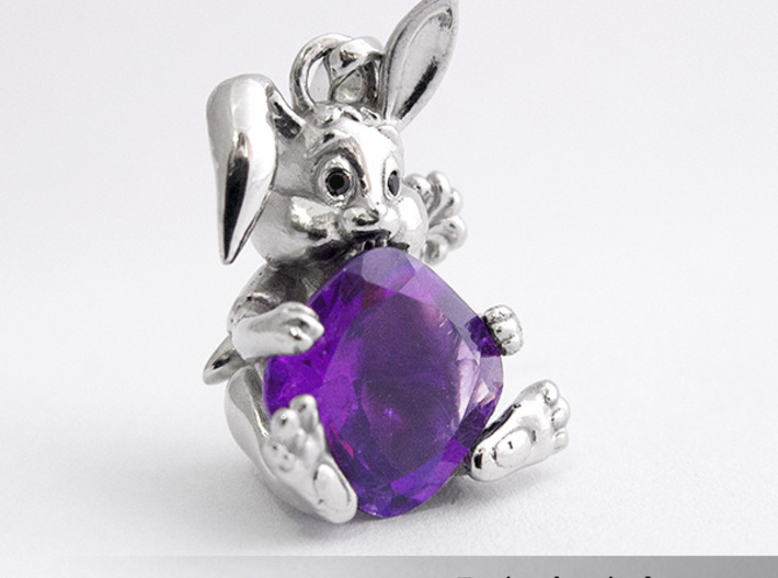 Bunny Pendant 3d printed Personalized pendant with an Amethyst.