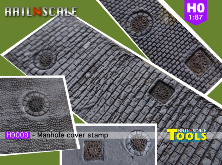 Manhole cover stamp (H0 1:87) 3d printed