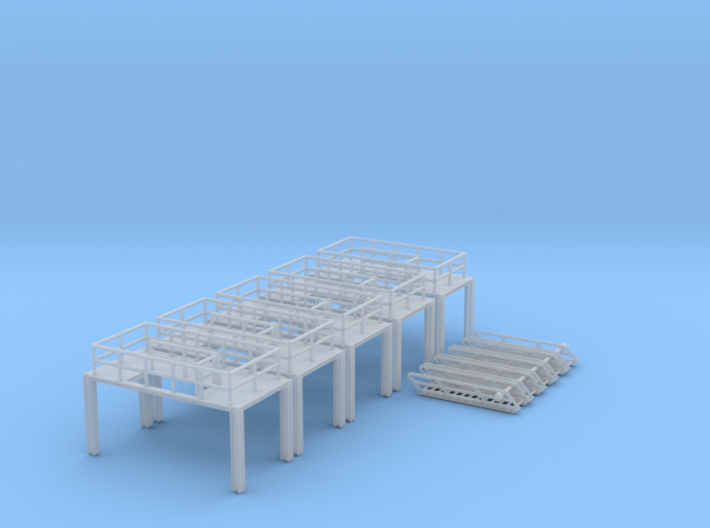 N Scale 5x Refinery Stairs (modular) 3d printed