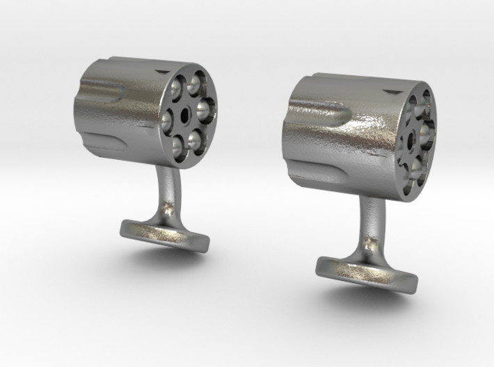 Revolver Cufflinks 3d printed revolver cufflinks raw silver